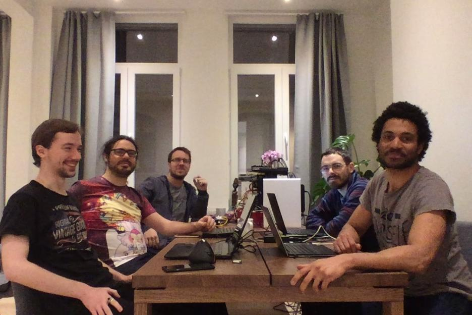 From left to right: Peter Badida (KeyWeeUsr), Gabriel Pettier (tshirtman), Mathieu Virbel (tito), Alexander Taylor (inclement) and Andre Miras (AndreMiras)