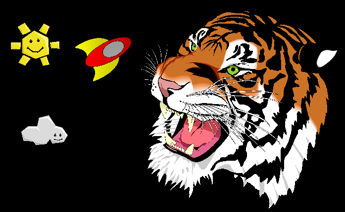 Image of the Kivy SVG example, including the famous svg tiger