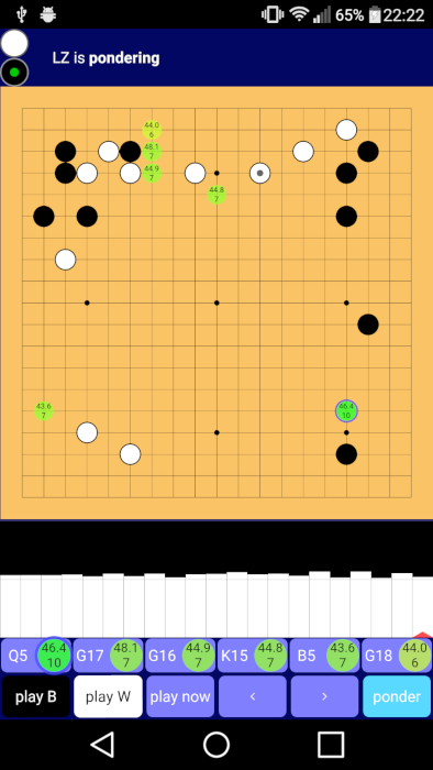 Example Lazy Baduk usage showing Leela Zero analysis.