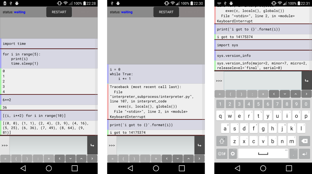 Screenshot of the interpreter app.
