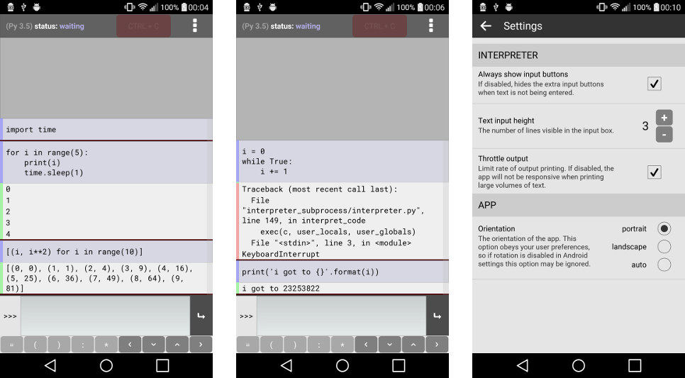 Three screenshots of Pyonic interpreter 0.7.