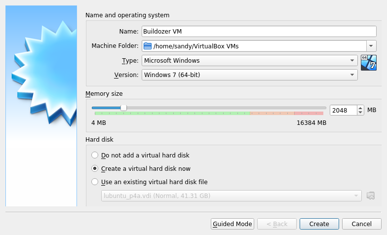 Running buildozer in a virtual machine