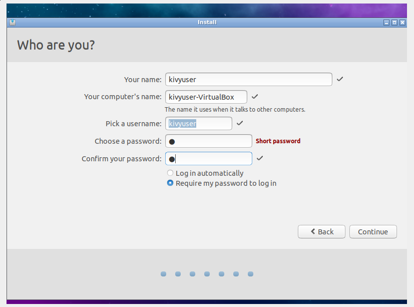 User creation dialog